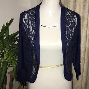 Blue lace shall cover up bolero NWT